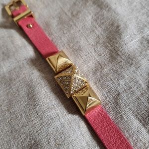 Juicy Couture Jewelry - Juicy Couture Pink Leather Rhinestone Buckle Brace
